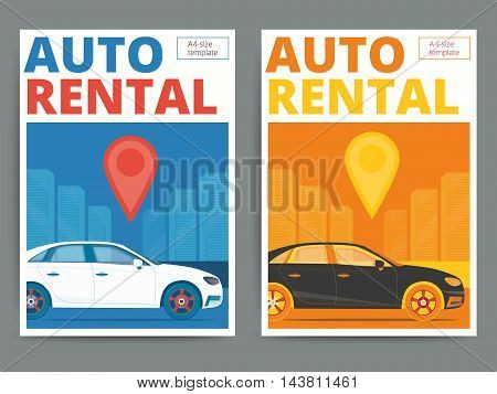 Trendy auto rental service poster design. Modern vector car hire advertisement flyer in A4 size. Automobile for rent on city background.