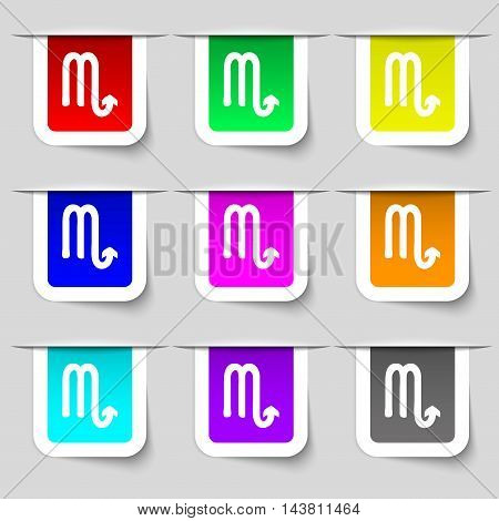 Scorpio Icon Sign. Set Of Multicolored Modern Labels For Your Design. Vector