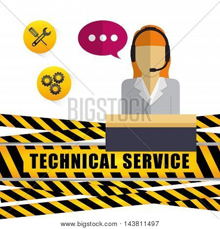 woman headphone barrier customer service technical service call center icon set. Colorful and flat design. Vector illustration