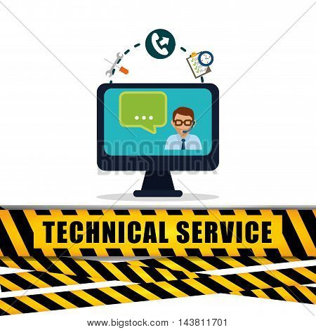 man headphone computer barrier bubble customer service technical service call center icon set. Colorful and flat design. Vector illustration