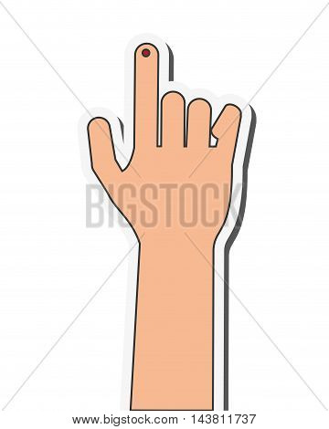 flat design index finger bleeding icon vector illustration