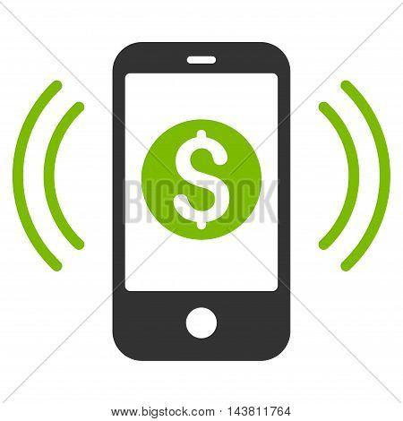 Payment Phone Ring icon. Vector style is bicolor flat iconic symbol with rounded angles, eco green and gray colors, white background.