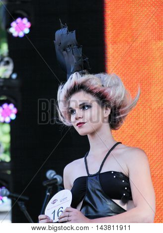 St. Petersburg, Russia - 12 August, The girl on the scene close-up,12 August, 2016. Beauty contest «Miss St.Petersburg Harley Days 2016