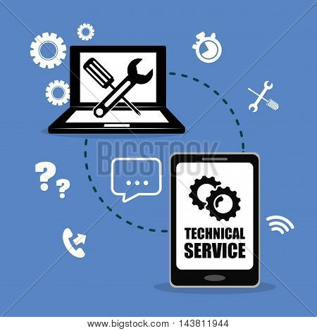 laptop smartphone gears customer service technical service call center icon set. Colorful and flat design. Vector illustration