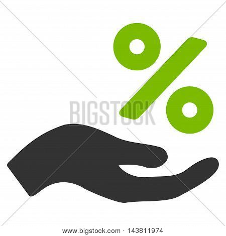 Percent Offer Hand icon. Vector style is bicolor flat iconic symbol with rounded angles, eco green and gray colors, white background.