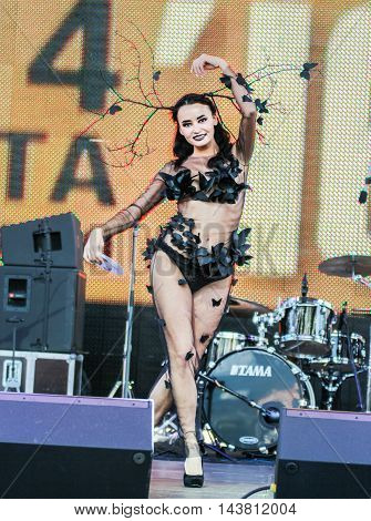 St. Petersburg, Russia - 12 August, Model, display designer dress,12 August, 2016. Beauty contest «Miss St.Petersburg Harley Days 2016
