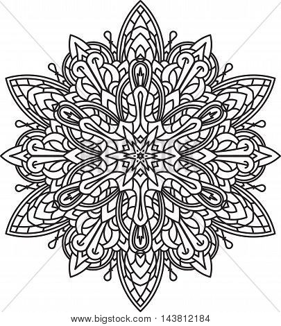 Abstract vector black round lace design - mandala ethnic decorative element. Can be used as anti stress therapy.