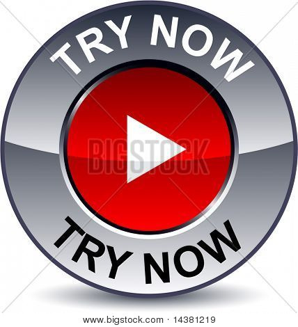 Try now round metallic button. Vector.
