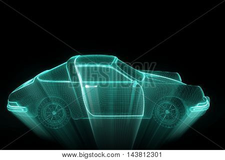 Sport Car in Hologram Wireframe Style. Nice 3D Rendering