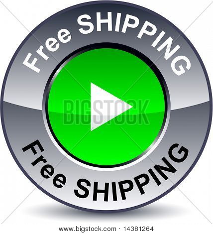 Free shipping round metallic button. Vector.