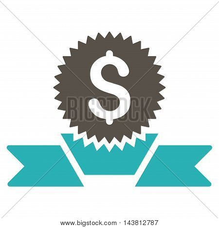 Banking Award icon. Vector style is bicolor flat iconic symbol with rounded angles, grey and cyan colors, white background.