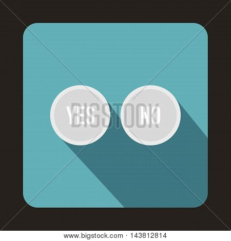White Yes and No buttons icon in flat style on a baby blue background