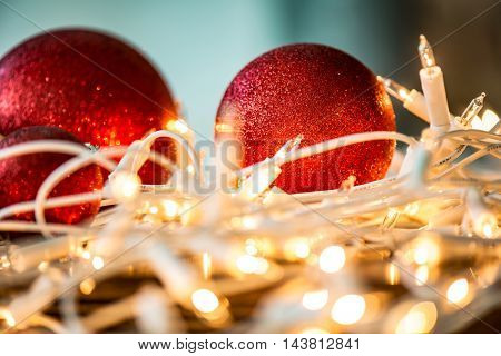 Christmas lights and Christmas balls