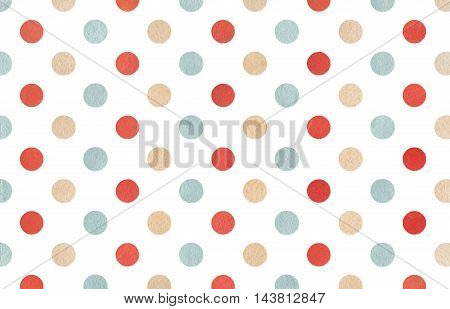 Watercolor Beige, Red And Blue Polka Dot Background.
