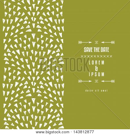Repeat background with triangular fountains pattern. Abstract hand drawn triangle doodle drops elements. Vertical seamless pattern. Vector illustration.