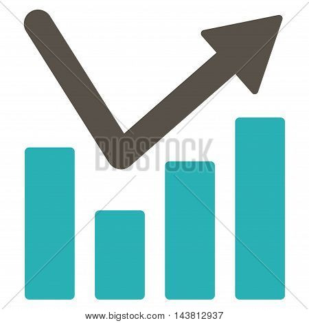 Bar Chart Trend icon. Vector style is bicolor flat iconic symbol with rounded angles, grey and cyan colors, white background.