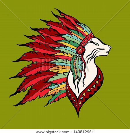 Cat portrait in war bonnet. Native American Indian chief headdress. Doodle pet. Vector illustration.