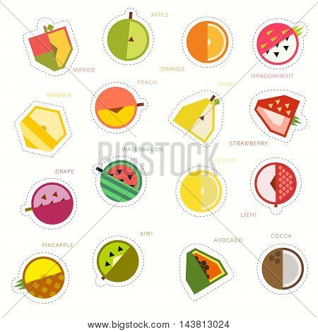 Set of colorful funny fruity pin badges. Collection of bright vector cartoon style fruit patches and stickers