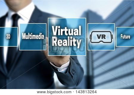virtual reality touchscreen is operated by businessman.