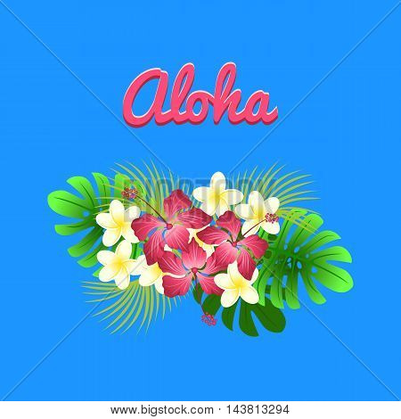 Aloha hibiscus flower as a symbol of Hawaii, colorful vector flat illustration