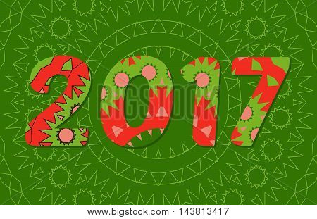 2017 Year Illustration Decorated With Abstract  Decorative Pattern In Green And Red Colors.