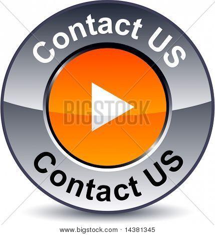 Contact us round metallic button. Vector.
