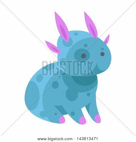 Fantasy monster color cute character funny design element. Humour emoticon fantasy monster unique expression sticker isolated. Alien sticker vector fantasy monster paint crazy animal