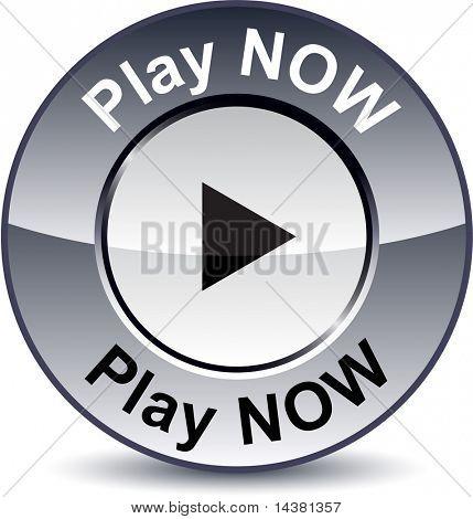 Play now round metallic button. Vector.