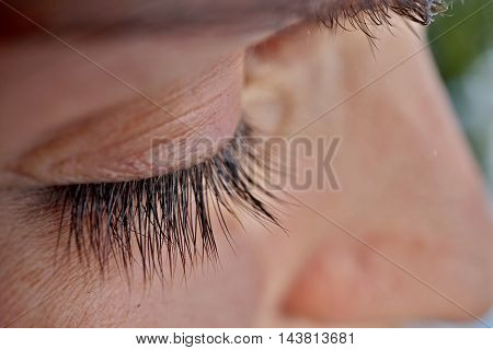 Macro detail of a closed woman eye with extremely long black natural eyelashes and dark brown eyebrows