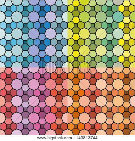Vector set of abstract colorful seamless background