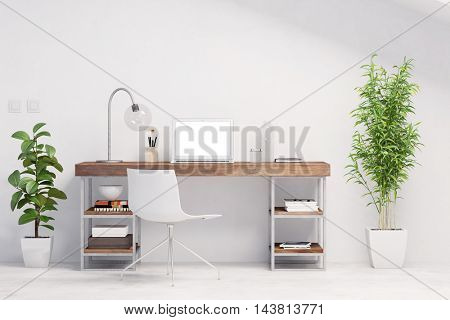 Bright workspace with desk and laptop computer and green plants (3D Rendering)
