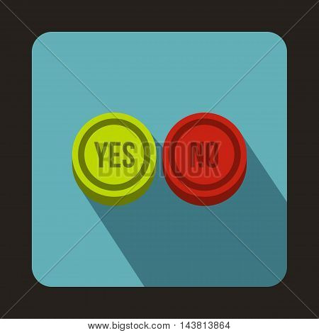 Yes and No buttons icon in flat style on a baby blue background