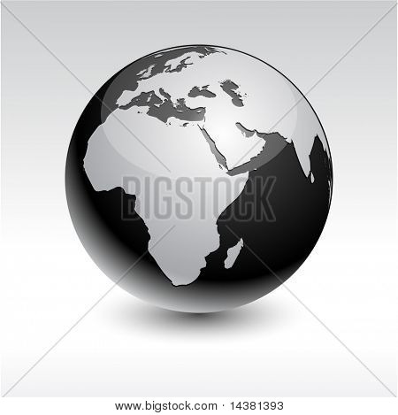 Black high-detailed earth ball. Vector.