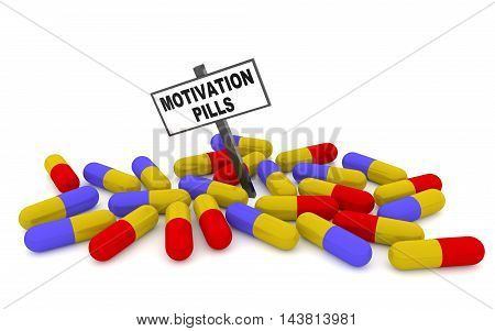 Motivation pills concept with pills isolated on white background. 3D rendering
