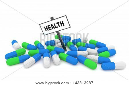 Health pills concept with pills isolated on white background. 3D rendering