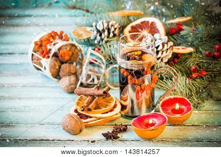 Mulled Wine With Orange And Spices On Wooden Background.christmas Decoration