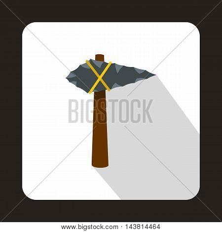 Ancient stone axe icon in flat style on a white background