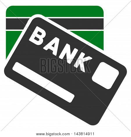 Bank Cards icon. Vector style is bicolor flat iconic symbol with rounded angles, green and gray colors, white background.