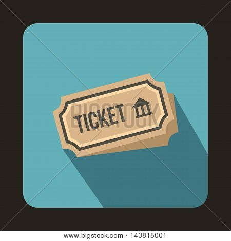 Museum ticket icon in flat style on a baby blue background