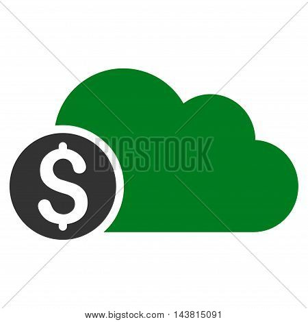 Banking Cloud icon. Vector style is bicolor flat iconic symbol with rounded angles, green and gray colors, white background.