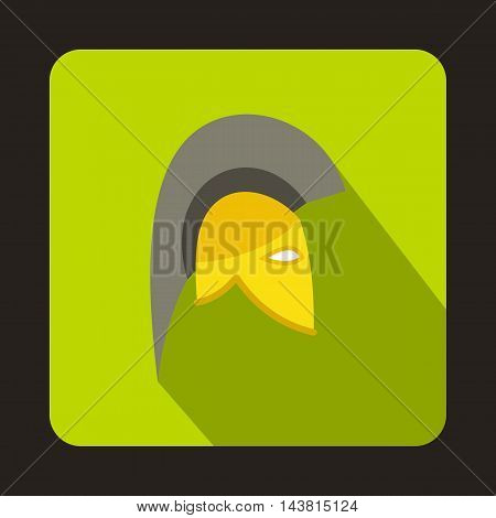 Knight helmet icon in flat style on a green background