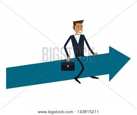 businessman suitcase arrow cartoon man male avatar business suit cloth icon. Flat and Isolated design. Vector illustration