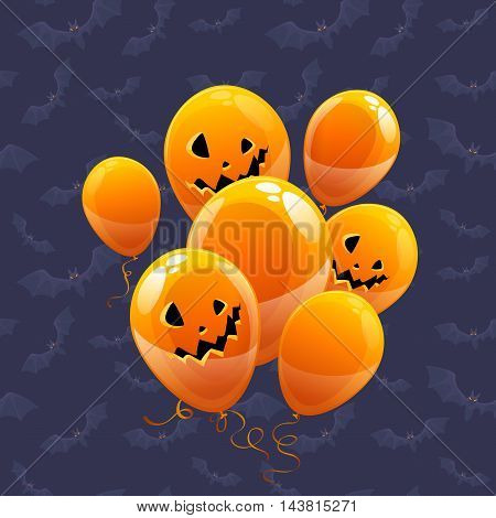 vector balloons colored like pumpkins for Halloween