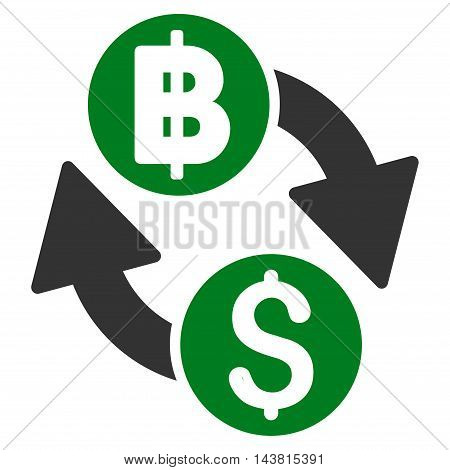 Dollar Baht Exchange icon. Vector style is bicolor flat iconic symbol with rounded angles, green and gray colors, white background.