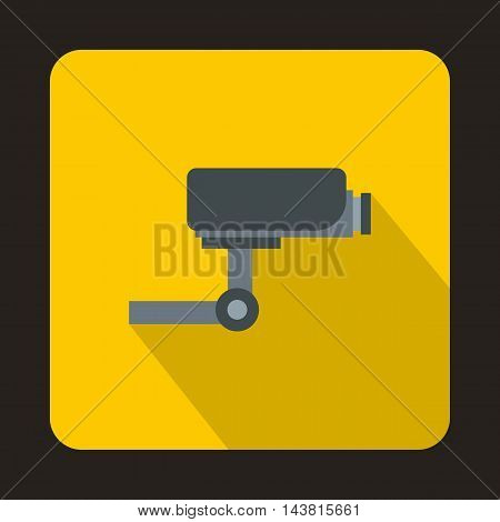 Surveillance camera icon in flat style on a yellow background