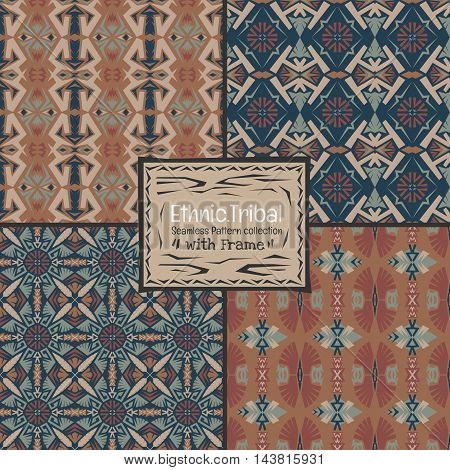 Seamless abstract vector texture ethnic tribal pattern background.Boho chic style pattern collection.