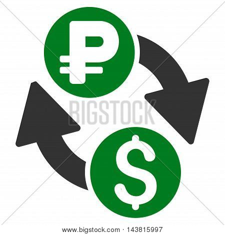 Dollar Rouble Exchange icon. Vector style is bicolor flat iconic symbol with rounded angles, green and gray colors, white background.
