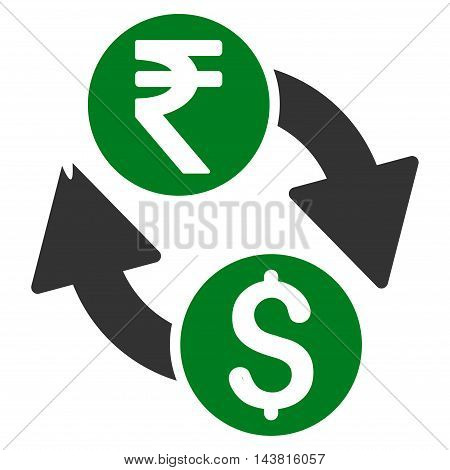 Dollar Rupee Exchange icon. Vector style is bicolor flat iconic symbol with rounded angles, green and gray colors, white background.