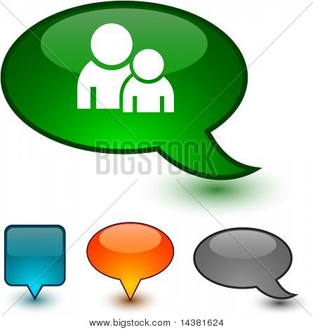 Forum glossy speech vector icons.