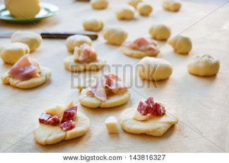 preparing rustic snack stuzzichini and finger food